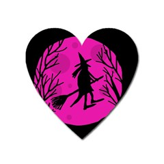 Halloween Witch   Pink Moon Heart Magnet by Valentinaart