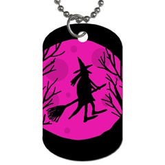 Halloween Witch   Pink Moon Dog Tag (one Side) by Valentinaart