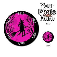 Halloween Witch   Pink Moon Playing Cards 54 (round)  by Valentinaart
