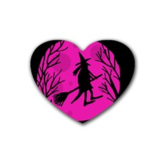 Halloween Witch   Pink Moon Rubber Coaster (heart)  by Valentinaart