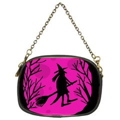 Halloween Witch   Pink Moon Chain Purses (two Sides)  by Valentinaart