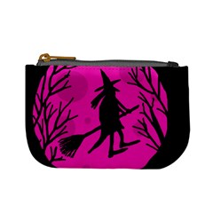 Halloween Witch   Pink Moon Mini Coin Purses by Valentinaart