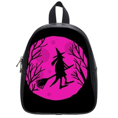 Halloween Witch   Pink Moon School Bags (small)  by Valentinaart