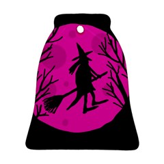 Halloween Witch   Pink Moon Bell Ornament (2 Sides) by Valentinaart