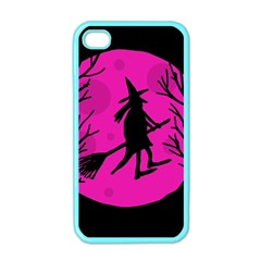 Halloween Witch   Pink Moon Apple Iphone 4 Case (color) by Valentinaart