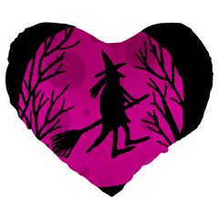 Halloween Witch   Pink Moon Large 19  Premium Heart Shape Cushions by Valentinaart