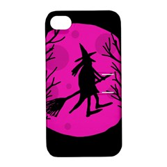 Halloween Witch   Pink Moon Apple Iphone 4/4s Hardshell Case With Stand by Valentinaart