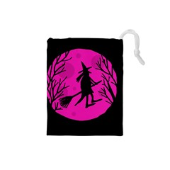 Halloween Witch   Pink Moon Drawstring Pouches (small)  by Valentinaart