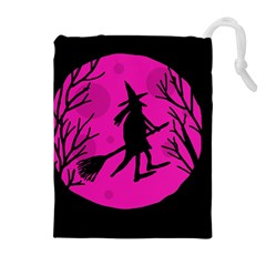 Halloween Witch   Pink Moon Drawstring Pouches (extra Large) by Valentinaart
