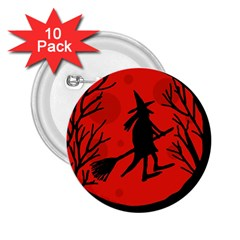 Halloween Witch   Red Moon 2 25  Buttons (10 Pack)  by Valentinaart