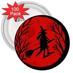 Halloween Witch   Red Moon 3  Buttons (100 Pack)  by Valentinaart