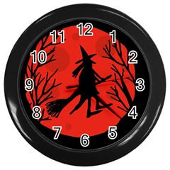 Halloween Witch   Red Moon Wall Clocks (black) by Valentinaart