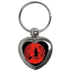 Halloween Witch   Red Moon Key Chains (heart)  by Valentinaart