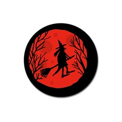 Halloween Witch   Red Moon Magnet 3  (round) by Valentinaart