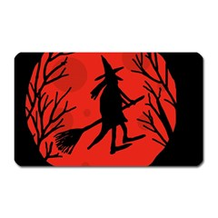 Halloween Witch   Red Moon Magnet (rectangular)