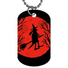 Halloween Witch   Red Moon Dog Tag (one Side) by Valentinaart