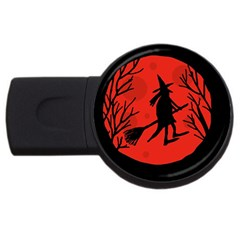 Halloween Witch   Red Moon Usb Flash Drive Round (2 Gb)  by Valentinaart