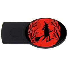 Halloween Witch   Red Moon Usb Flash Drive Oval (4 Gb)  by Valentinaart