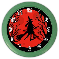 Halloween Witch   Red Moon Color Wall Clocks by Valentinaart