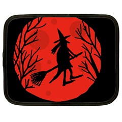 Halloween Witch   Red Moon Netbook Case (large) by Valentinaart