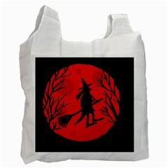 Halloween Witch   Red Moon Recycle Bag (two Side)  by Valentinaart