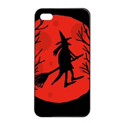 Halloween Witch   Red Moon Apple Iphone 4/4s Seamless Case (black) by Valentinaart