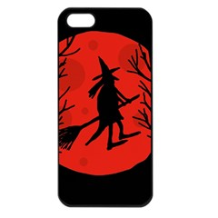 Halloween Witch   Red Moon Apple Iphone 5 Seamless Case (black) by Valentinaart