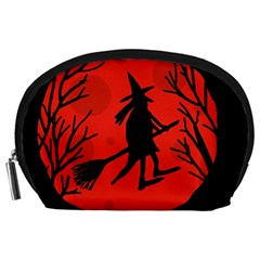Halloween Witch   Red Moon Accessory Pouches (large)  by Valentinaart