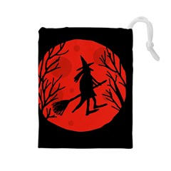 Halloween Witch   Red Moon Drawstring Pouches (large)  by Valentinaart