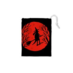 Halloween Witch   Red Moon Drawstring Pouches (xs)  by Valentinaart