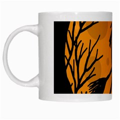 Halloween Witch   Orange Moon White Mugs by Valentinaart