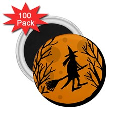 Halloween Witch   Orange Moon 2 25  Magnets (100 Pack)  by Valentinaart