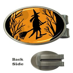 Halloween Witch   Orange Moon Money Clips (oval)  by Valentinaart