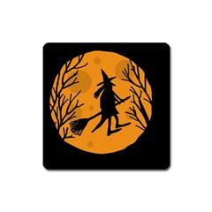 Halloween Witch   Orange Moon Square Magnet by Valentinaart