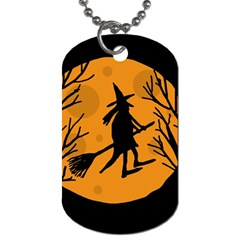 Halloween Witch   Orange Moon Dog Tag (one Side) by Valentinaart