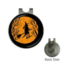 Halloween Witch   Orange Moon Hat Clips With Golf Markers by Valentinaart
