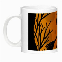 Halloween Witch   Orange Moon Night Luminous Mugs by Valentinaart