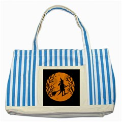 Halloween Witch   Orange Moon Striped Blue Tote Bag by Valentinaart
