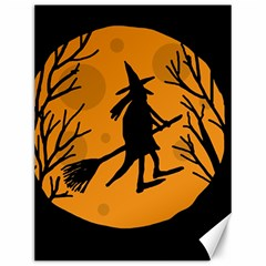 Halloween Witch   Orange Moon Canvas 12  X 16   by Valentinaart