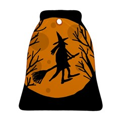 Halloween Witch   Orange Moon Bell Ornament (2 Sides) by Valentinaart