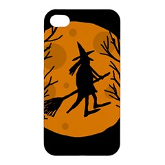 Halloween Witch   Orange Moon Apple Iphone 4/4s Hardshell Case by Valentinaart
