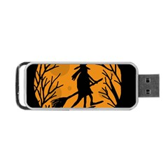 Halloween Witch   Orange Moon Portable Usb Flash (two Sides) by Valentinaart