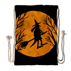 Halloween Witch   Orange Moon Drawstring Bag (large) by Valentinaart