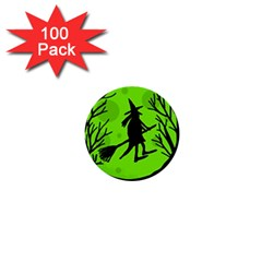 Halloween Witch   Green Moon 1  Mini Buttons (100 Pack)  by Valentinaart