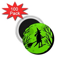 Halloween Witch   Green Moon 1 75  Magnets (100 Pack)  by Valentinaart