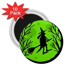 Halloween Witch   Green Moon 2 25  Magnets (10 Pack)  by Valentinaart