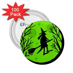 Halloween Witch   Green Moon 2 25  Buttons (100 Pack)  by Valentinaart