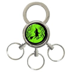 Halloween Witch   Green Moon 3 Ring Key Chains by Valentinaart