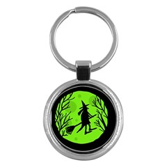 Halloween Witch   Green Moon Key Chains (round)  by Valentinaart