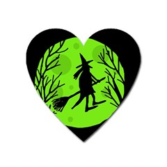 Halloween Witch   Green Moon Heart Magnet by Valentinaart